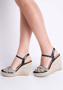 Diamante Cross Over Espadrille Wedge Sandals Black