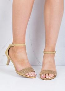 Diamante Embellished Heeled Sandals Gold
