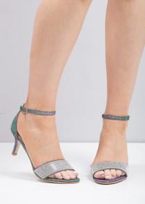 Diamante Embellished Kitten Low Heeled Sandals Purple