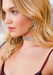 Diamante Embellished Necklace Choker Silver