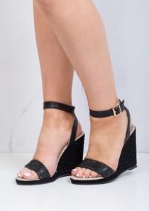 Diamante Embellished Wedge Sandals Black