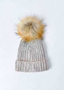 Diamante Faux Fur Bobble Knitted Fleece Lined Hat Beige