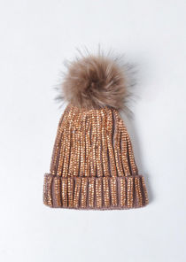Diamante Faux Fur Bobble Knitted Fleece Lined Hat Brown