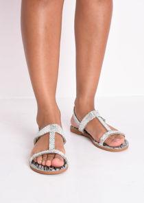 Diamante Gem T Bar Flat Slingback Sandals Silver