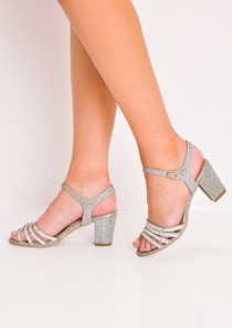 Diamante Glitter Block Heel Sandals Gold