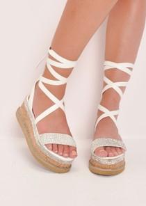 Diamante Lace Up Flatform Espadrille Sandals White