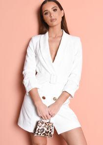 Double Breasted Belted Longline Blazer Mini Dress White