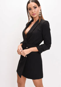 Double Breasted Belted Mini Blazer Dress Black
