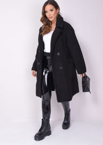 Double Breasted Oversized Longline Borg Teddy Coat Black
