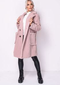 Double Breasted Oversized Longline Borg Teddy Coat Pink