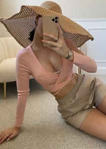 Ribbed Double Front Tie Cut Out Long Sleeve Crop Top Pink