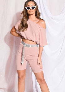 Drawstring Crop Top Cycling Shorts Co Ord Set Mauve Pink