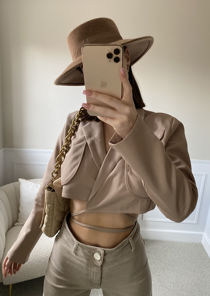 Tie Wrapped Gun Flap Cropped Blazer Top Beige