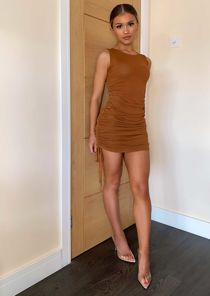 Drawstring Side Ruched Mini Dress Brown