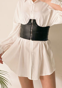 Elasticated Faux Leather Front Zip Fastening Corset Belt Black