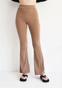 Elasticated High Waisted Skinny Flared Legging Trousers Beige