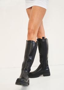 Pu Elasticated Knee High Chunky Chelsea Boots Black