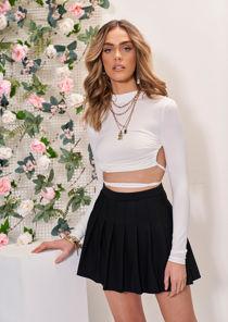 Elasticated Waist Pleated Tennis Mini Skirt Black