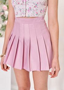 Elasticated Waist Pleated Tennis Mini Skirt Pink