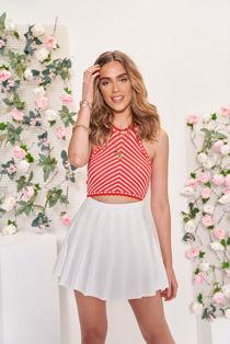 Elasticated Waist Pleated Tennis Mini Skirt White