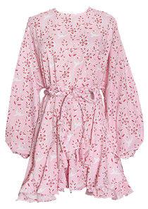 Oversized Puffy Sleeved Braided Waist Belt Mini Dress Tiedye Pink