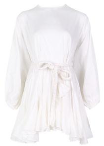 Oversized Puffy Sleeved Braided Waist Belt Mini Dress White