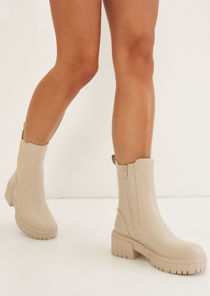 Pu Elasticated Side Chunky Chelsea Ankle Boots Beige