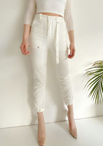 Elasticated Waist Strapped Utility Cargo Trousers Pants White