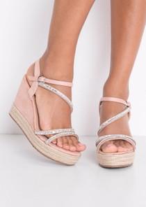 EmbellishedDiamante Braided Cork Espadrille Wedge Sandals Pink