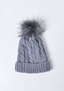 Faux Fur Bobble Knitted Fleece Lined Hat Grey