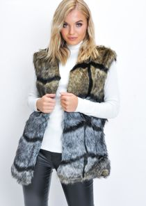 Faux Fur Chevron Pattern Longline Gilet Multi
