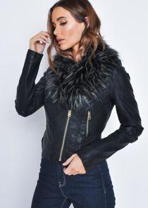 Faux Fur Collar Cropped Faux Leather Biker Jacket Black