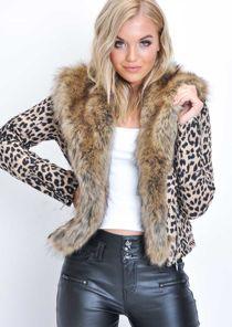 Leopard Print Faux Fur Collar Cropped Biker Jacket Multi