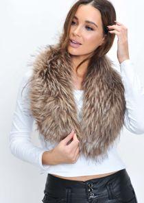 Faux Fur Collar Scarf Mink Brown