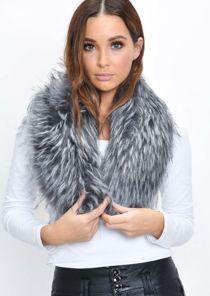 Faux Fur Collar Scarf Grey