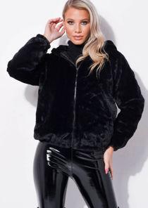 Faux Fur Crop Hooded Coat Black