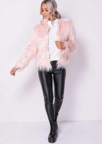 Shaggy Faux Fur Crop Jacket Coat Pink