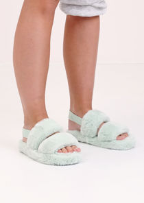 Faux Fur Fluffy Strap Back Slider Sandal Green