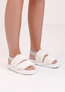 Faux Fur Fluffy Strap Back Slider Sandal White