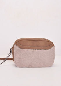 Faux Fur Front Pocket Cross Body Bag Brown