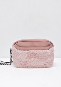 Faux Fur Front Pocket Cross Body Bag Pink