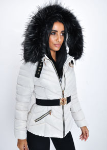 Faux Fur Hooded Belted Padded Puffer Coat Beige