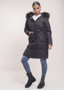 Faux Fur Hooded Drawstring Longline Padded Puffer Coat Black