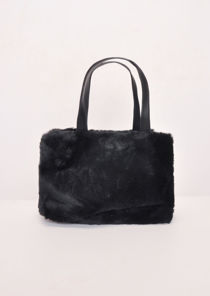 Faux Fur Mini Bucket Bag Black