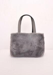 Faux Fur Mini Bucket Bag Grey