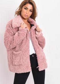 Faux Fur Oversized Zip Up Teddy Jacket Pink