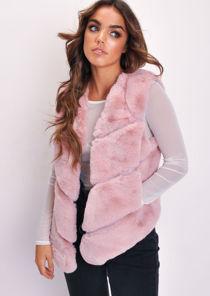 Faux Fur Panel Gilet Mauve Pink