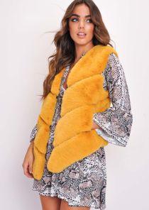 Faux Fur Panel Gilet Mustard Yellow