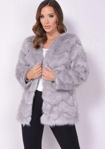 Faux Fur Zigzag Panel Soft Touch Jacket Coat Grey