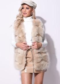 Faux Fur Stripe Gilet Jacket Beige